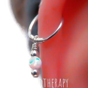 Cartilage hoop earring w white fire opal charm